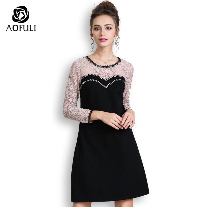 AOFULI Luxury Diamond Beaded Women Lace Patchwork Dress Plus Size Long Sleeve  Autumn Dresses Knee length L XXXL 4XL 5XL A3663-in Dresses from Women s ... 31bc4eb1c80b