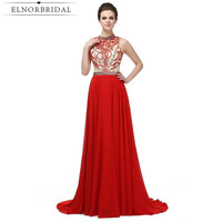 New Red Beading Evening Dress 2017 Illusion Vestido De Noche Backless Prom Dresses Long Imported Party Dress Free Shipping