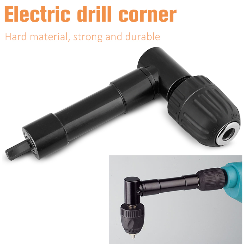 1/4 90 Degree Right Angle Driver 3/8 Shank Keyless Chuck Range 0.6-6mm Self Drill Adapter Electric drill right angle turner 10mm variable speed electric drill for angle 380w hand drill 90 angle electric drill 0 1400rpm right angle hand electric drill