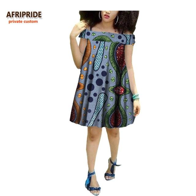 15b4f9134d1b0c 2018 summer women african midi dress AFRIPRIDE private custom off-shoulder  short sleeve knee-length casual women dress A7225113