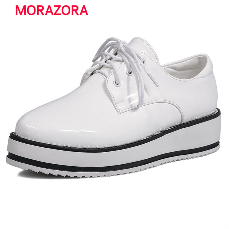ФОТО MORAZORA 2017 New arrive woman shoes lace-up contracted oxford shoes round toe big size 34-43 med heel platform solid