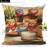 Cartoon Cat Cushion Covers Decoration For Home Sofa Printed Cat Meeting Linen Cotton Cat Cushion Cover