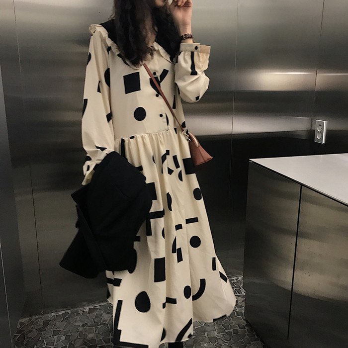 Geometric Printing Peter Pan Collar Vintage Dress Loose Fresh Casual Student Simple Autumn Women Long Dress Donna Vestido Abito 3