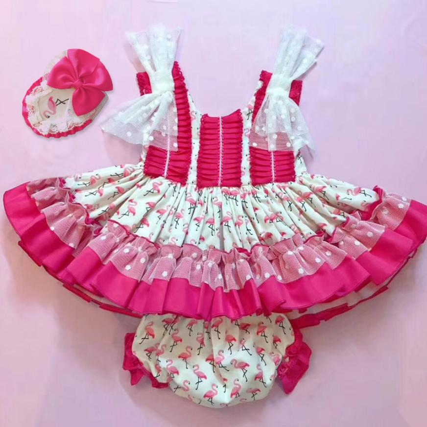 2019 Summer New Spanish High-end Dress Baby Girls Flamingo Princess Ball Gown Children's Day Birthday Dress Kids Vestidos Y1226