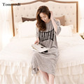 Sexy Leakage Shoulder Loose Nightdress Cotton Short-sleeved  Long Nightgowns Thin Summer Sleepwear