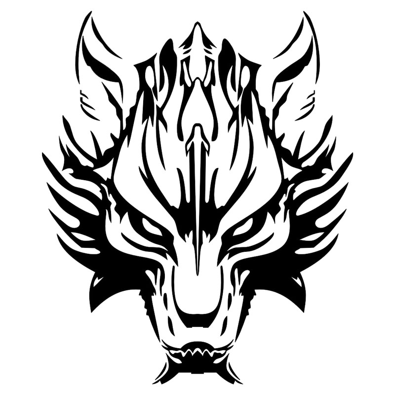 25*29.6CM Car Motorcycle Decal Vinyl Graphics Fashion Wolf Head Car Styling Car Stickers Cover Black/Silver C9-1249