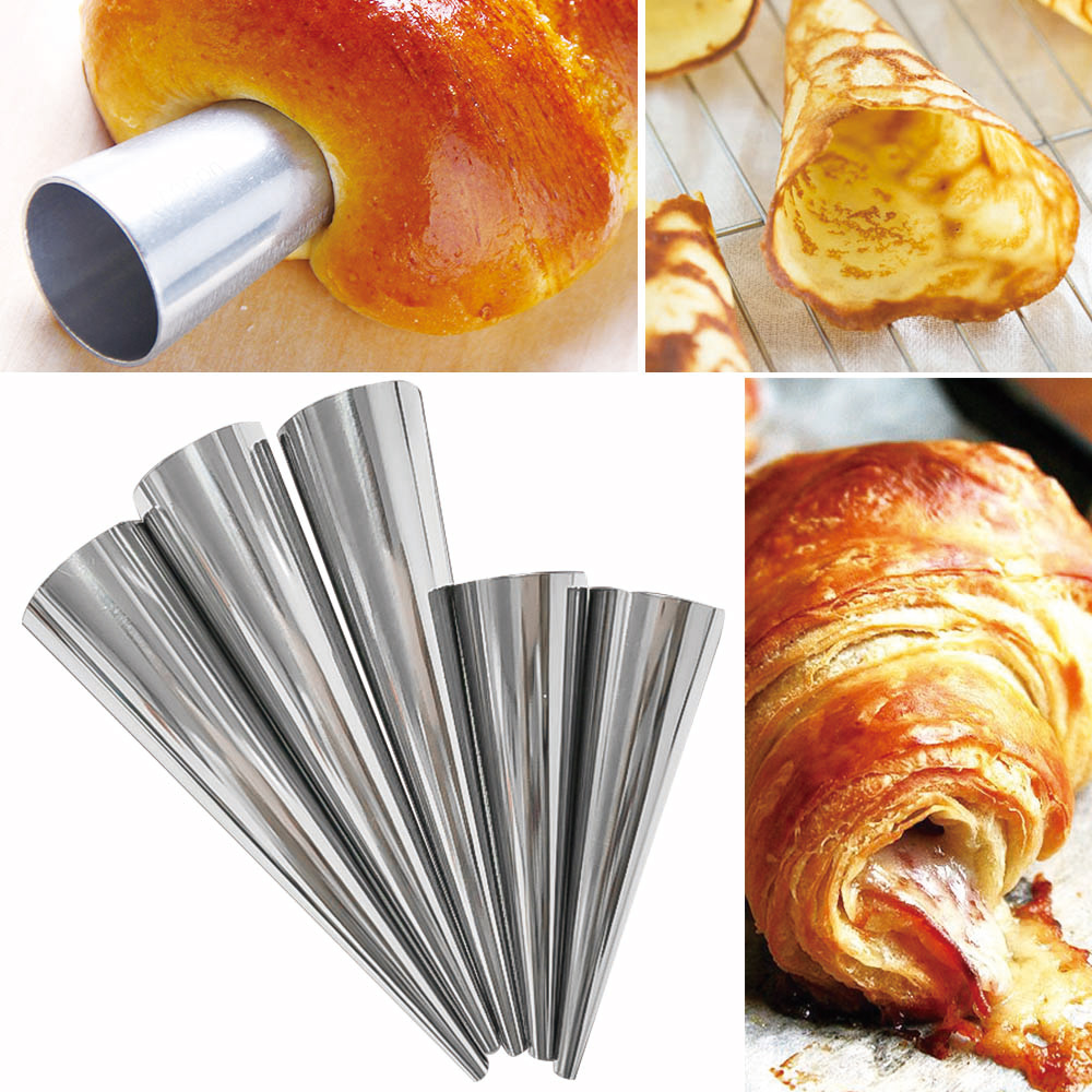 12pcsset Stainless Steel Spiral Croissants Molds Pastry