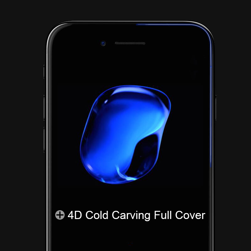 """4D (2nd Gen 3D) Full Cover Tempered Glass For iPhone 7 7 Plus Curved Explosion protection Film 9H Hard Case On 7 7PLus 4.7"""" 5.5"""" 4"""