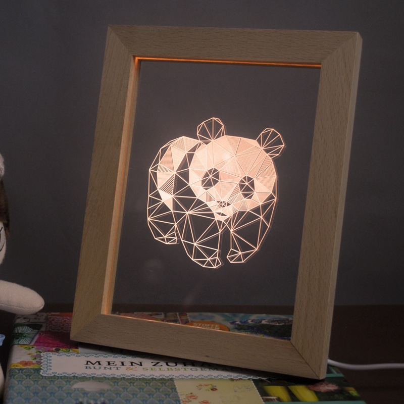 FL-707 3D Photo Frame Illuminative LED Night Light Wooden Panda Desktop Decorative USB Lamp In-Outdoor Fairy Decoration Lights