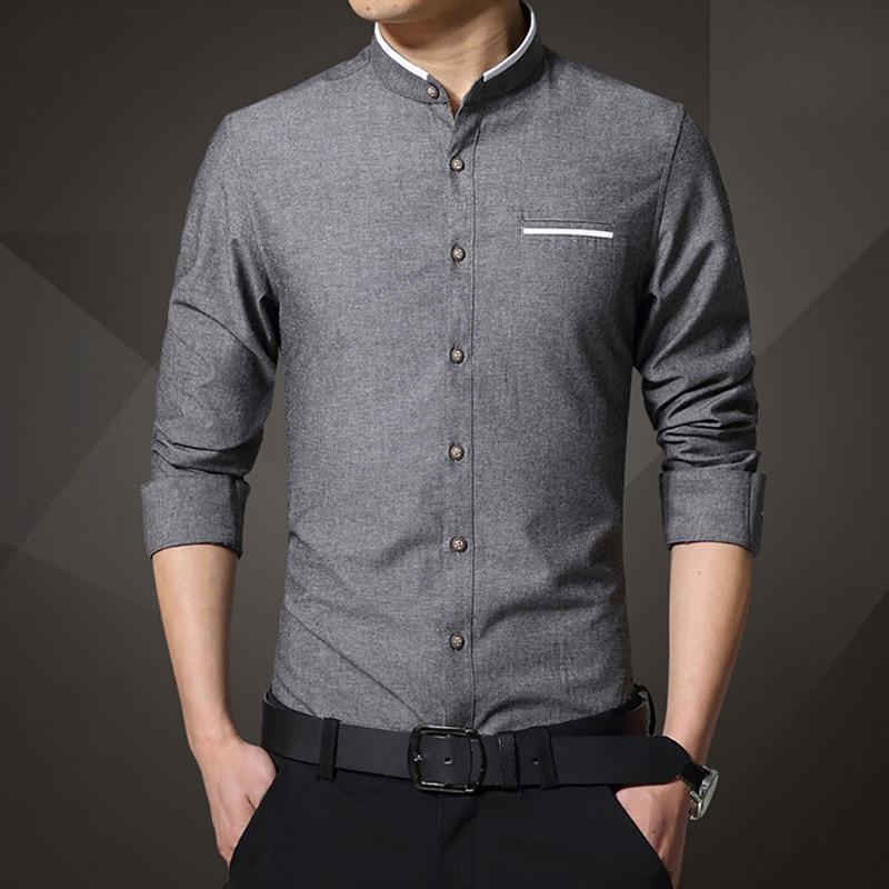 8879253764 Marca para Hombre de manga larga Camisa ocasional de fácil cuidado de  algodón sin cuello delgado Camisa de vestir Camiseta Masculina Camisa  Hombre Camisas ...