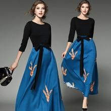 2017 New sexy Style high quality Spring Autumn Printed Dress fashion Elegant Women Printing O neck