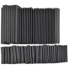 127 Unids/lote Negro Pegamento Resistente A La Intemperie Kit Surtido Heat Shrink Tubing Tube Manguitos