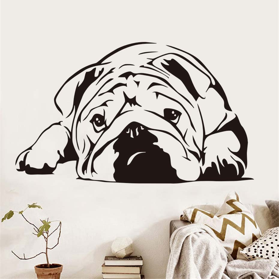Lying Bulldog Dog Wall Sticker For Kids Room Living Room Wall Decor Animal Vinyl Mural Hollow Out Home Decoration Accessories