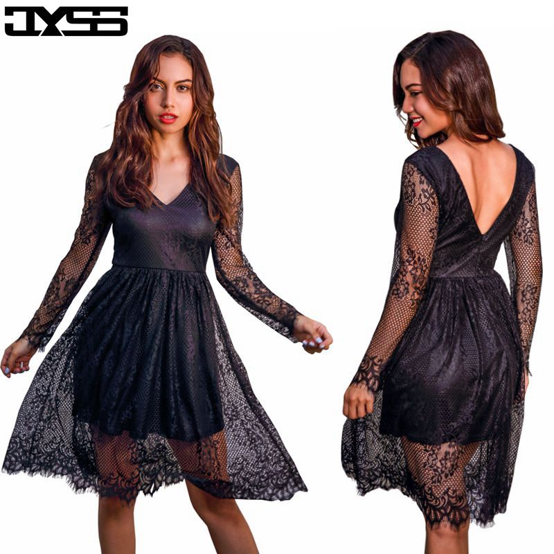 JYSS New fall girly black red sky blue V-neck long-sleeved lace dress women 81187# ...