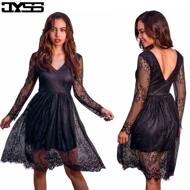 JYSS New fall girly black red sky blue V-neck long-sleeved lace dress women 81187# ...