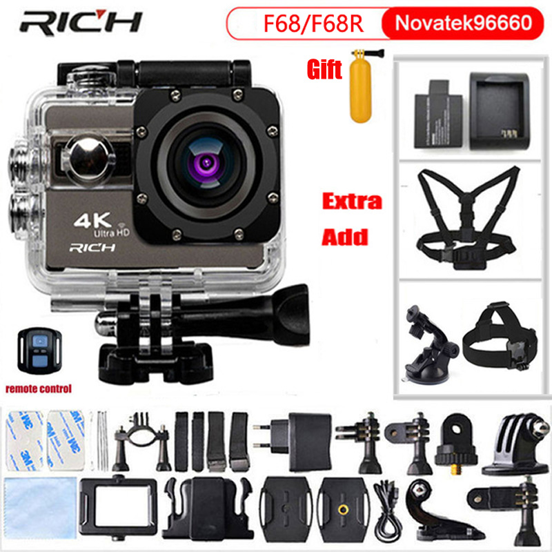 RICH Action Camera 4K 24fps Wifi 2.0Screen 30M Waterproof 170 Angles Adjustable Extreme Sports Camera Go Pro Style Camera