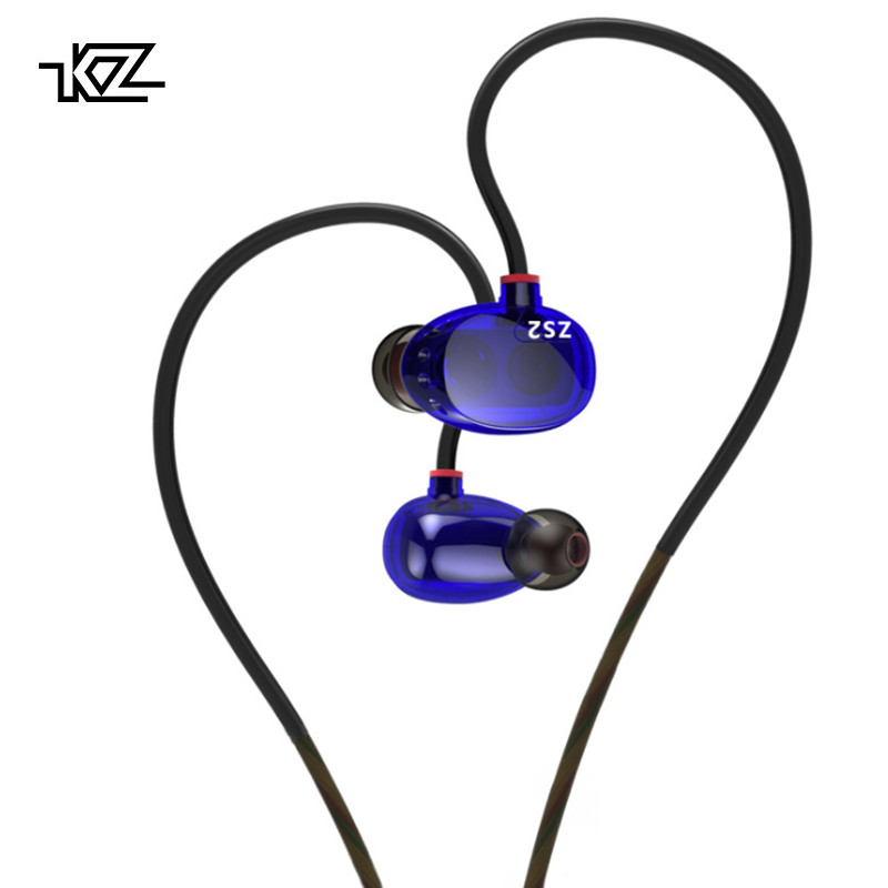 KZ ZS2 Promotions Dual Dynamic Driver Headphones Stereo In-Ear Monitors HiFi Earphone With Microphones Noise Cancelling Earbuds kz zs1 dual dynamic driver monitoring noise cancelling stereo in ear monitors headset hifi earphone with microphone for phone