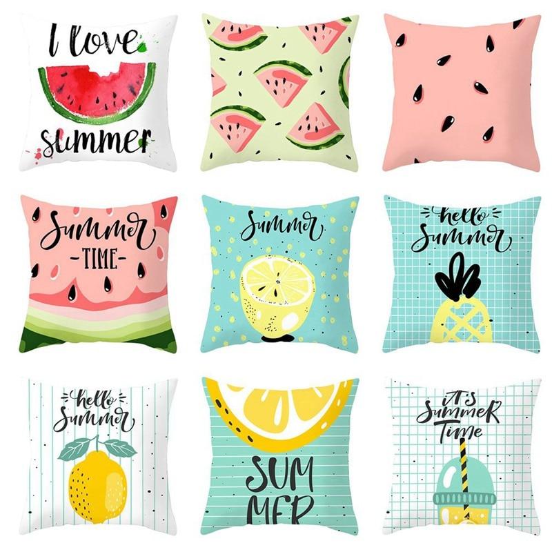 Lovely Cartoon Tropical Fruit Cushion Covers Summer Watermelon Pineapple Lemon Pillow Cover Chair Home Sofa Decoration Pillowcase Active Components Home Decor
