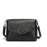 Fashion Crocodile Grain Genuine Leather Black Glod Women Bags Punk Casual Mini Messenger Bags Casual Travel