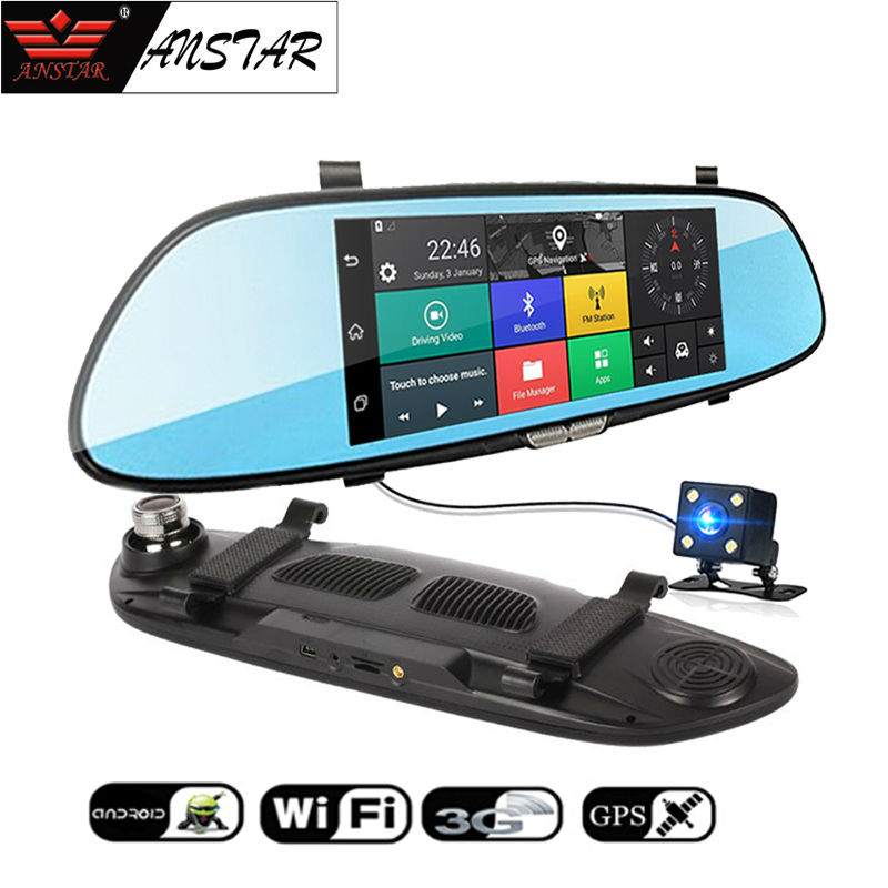 ANSTAR 3G Car Camera 7Touch Android 5.0 GPS Car DVR Video Recorder Bluetooth WiFi Dual Lens Rearview Mirror Dash Cam Car DVRS 2016 new 5 0 touch android bluetooth dash camera parking car dvr rearview mirror video recorder vehicle gps navigator free maps