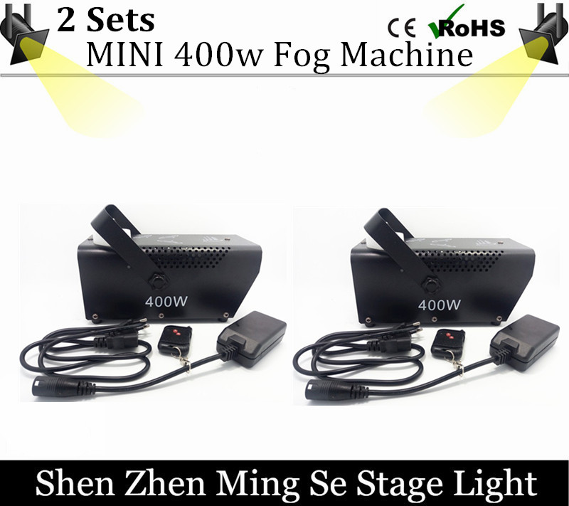 2 fog machine remote control or  wire control Mini 400W smoke machine professional DJ lighting equipment light effects цена 2017