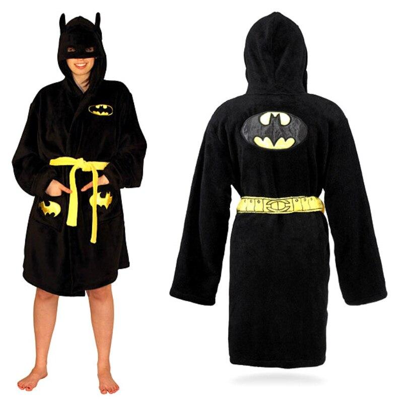 Batman gowns coral fleece sleepwear winter lounge bath robe women bathrobe  men hood pajamas for women long nightgownrobes-in Robes from Underwear ... 69488dbc2
