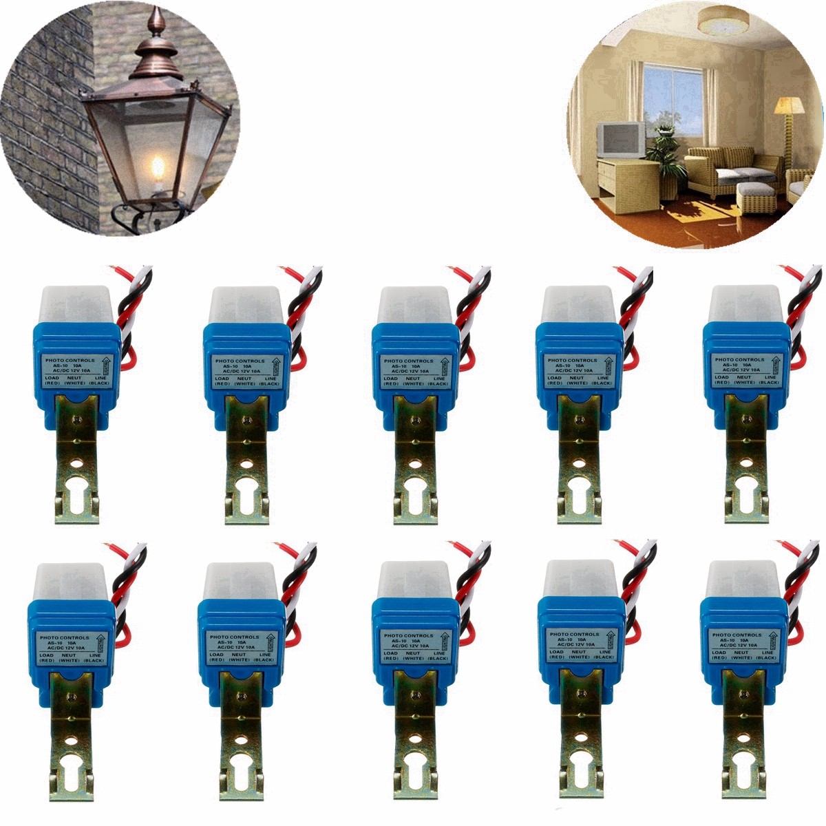 цена на 10 pcs Automatic Auto On Off Photocell street Light Switch Photo Control Photoswitch Sensor Switch DC AC 12V 10A