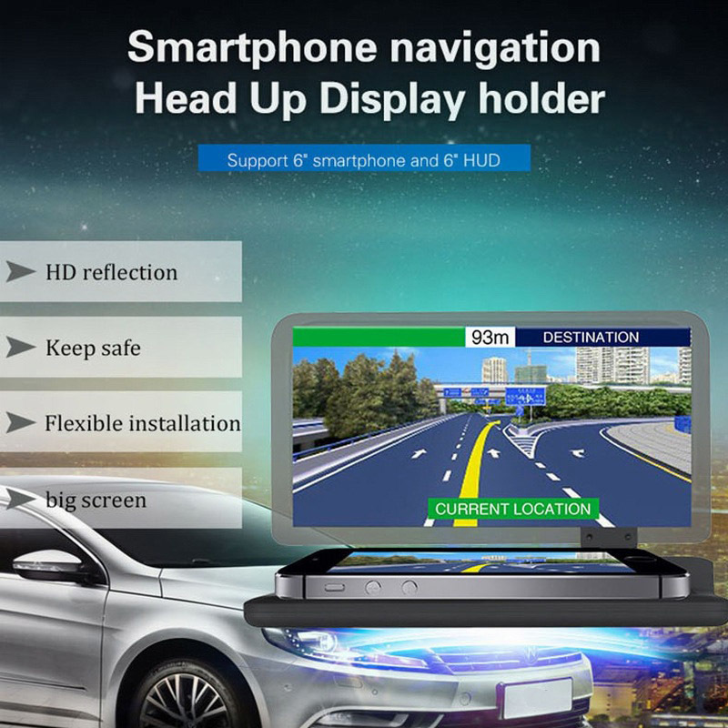 Car HUD Head Up Display Holder Mobile Phone Holder For IPhone For Samsung GPS Reflection Film Glass Board Projector H6