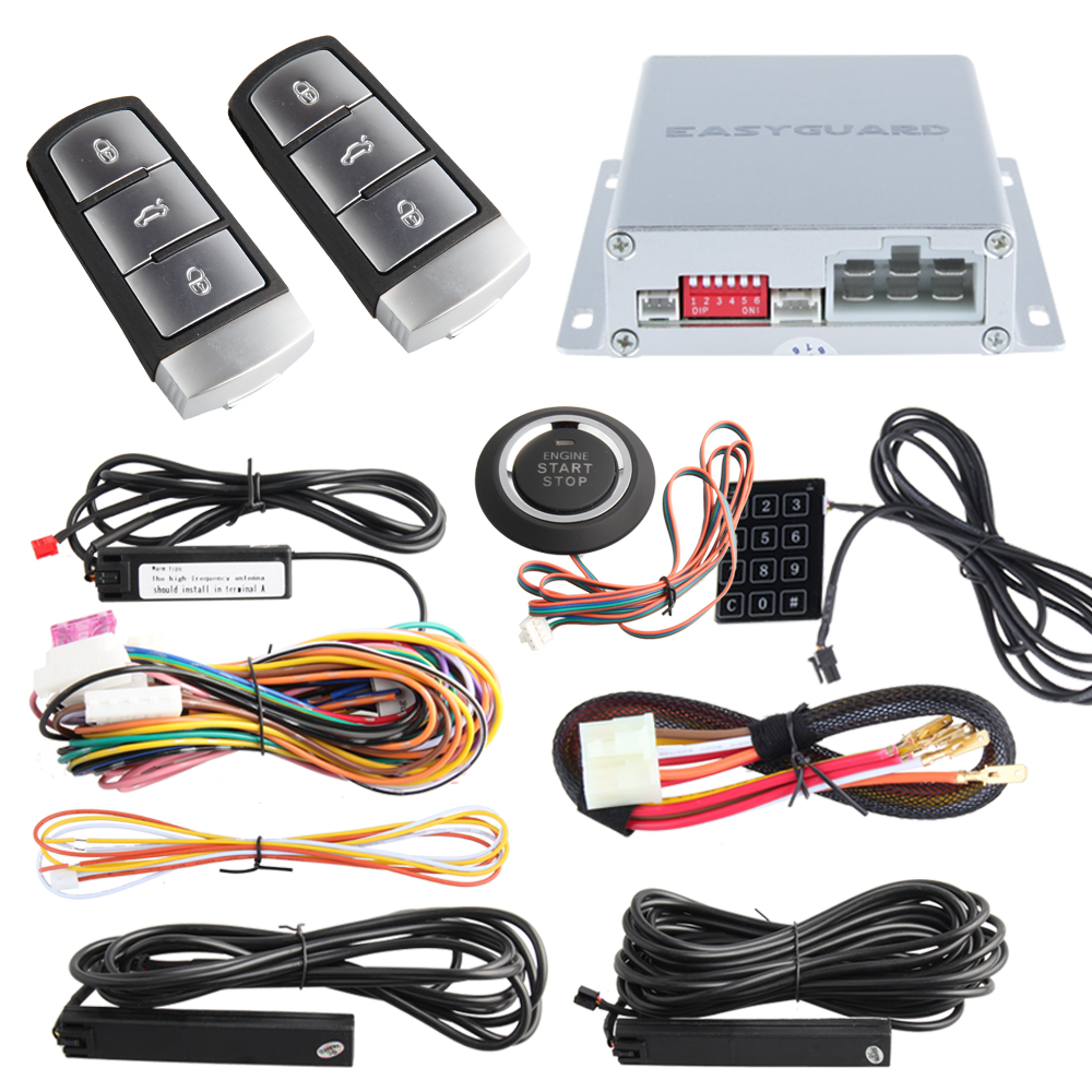 Easyguard PKE car alarm system remote engine start & push button start passive keyless entry touch password entry backup kowell hopping code pke car alarm system w passive keyless entry remote engine start stop push button power ignition switch