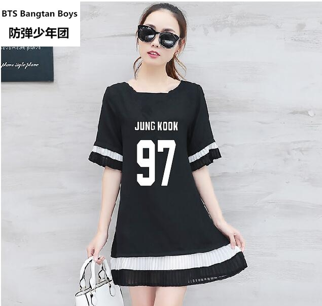 9f465b86e 2017 nova kpop BTS Bangtan Meninos Verão mulheres de grande porte costura  Inferior Plissada saia dentro do passeio vestido de chiffon Solta em  Vestidos de ...