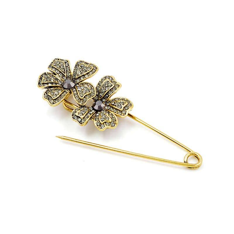 Cindy Xiang Tersedia 2 Warna Berlian Imitasi Bunga Besar Pin Bros untuk Wanita Gaya Vintage Yang Indah Mantel Aksesoris Baru