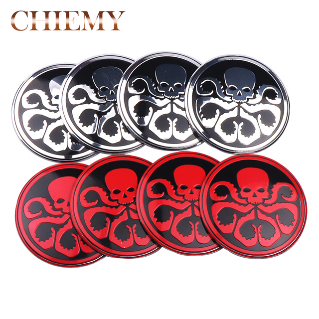 4x 56mm skull heil hydra avengers shield emblem badge logo car wheel center hub caps cover