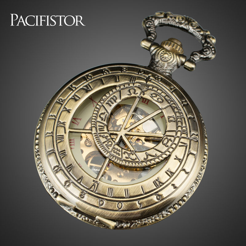 PACIFISTOR Pocket Watch Men Skeleton Mechanical Fob Watches Rull Metal Steampunk Antique Necklace Clock Gift Reloj De Bolsillo