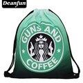 Deanfun estrenar 2016 escolar mochila 3D impresión viajes softback hombre mujer mochila feminina bolso de lazo mochila café