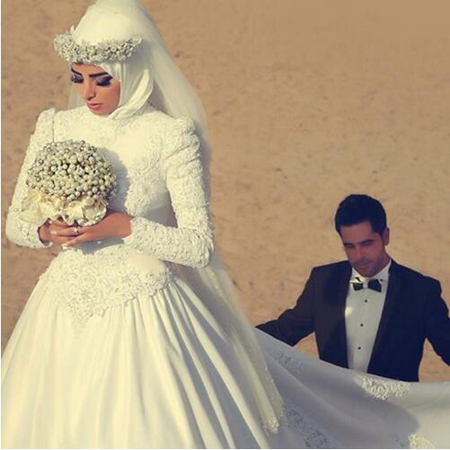 Robe De Mariage Elegant Ball Gown Arab Islamic Wedding Gowns High Neck Hijab  Long Sleeve Muslim Mother of the Bride Dresses 2019
