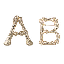 WEIMANJINGDIAN Brand New Arrival Set of 2 PCS Letter A and Letter B Alloy Metal Brooch Pins in Gold Color(China)