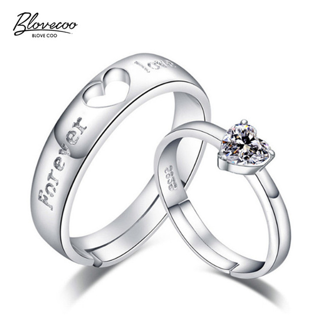 d22b19d52b8d Fashion Couples Silver Jewelry Luxury Crystal Couples Ring Hearts  Valentine s Day Gifts Exquisite Jewelry Open Adjustable