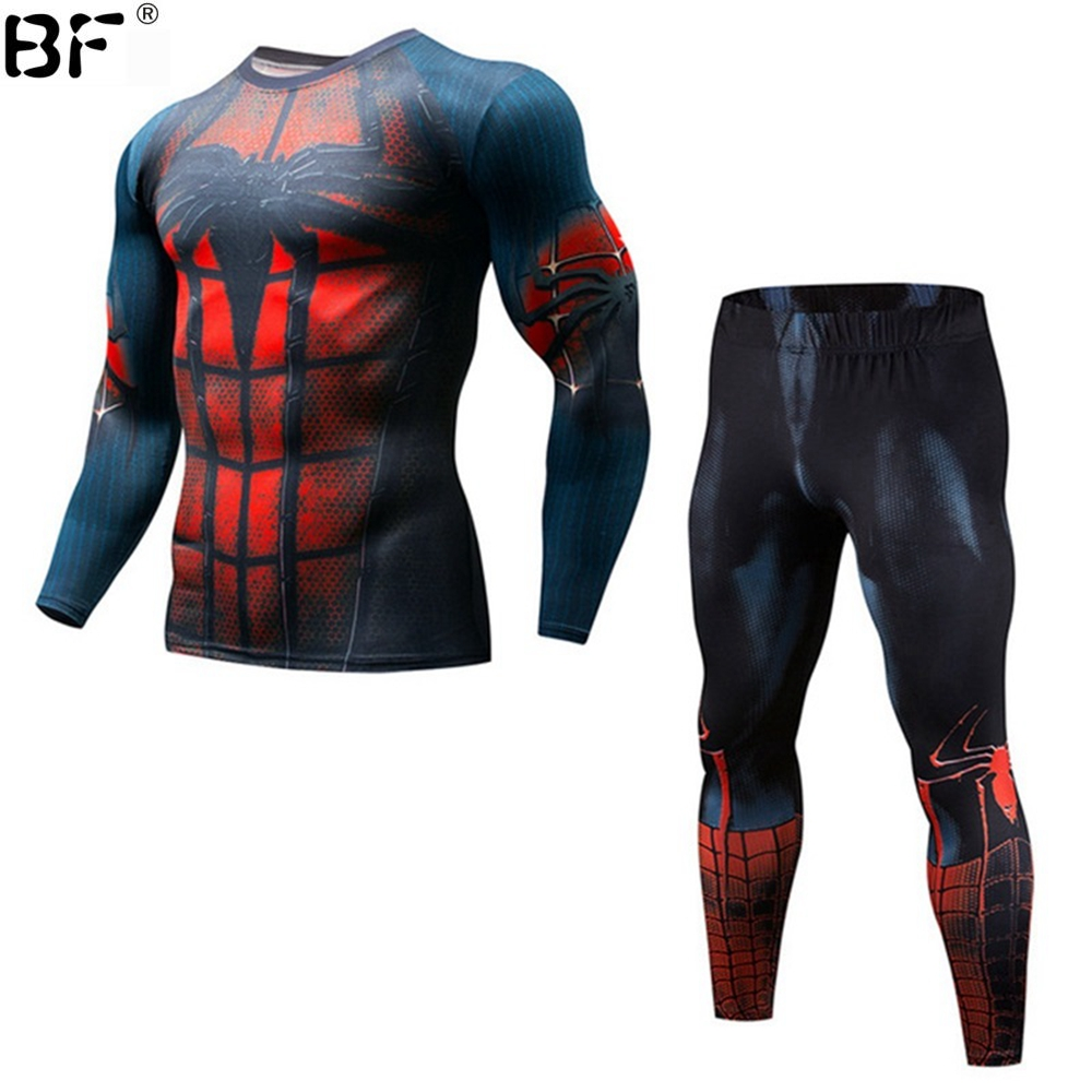 Mens mma Compression Sets Spider Man 3D Printed Anime Crossfit Fitness Joggers Base Layer Tight Suits Leggings Superhero Clothin ...