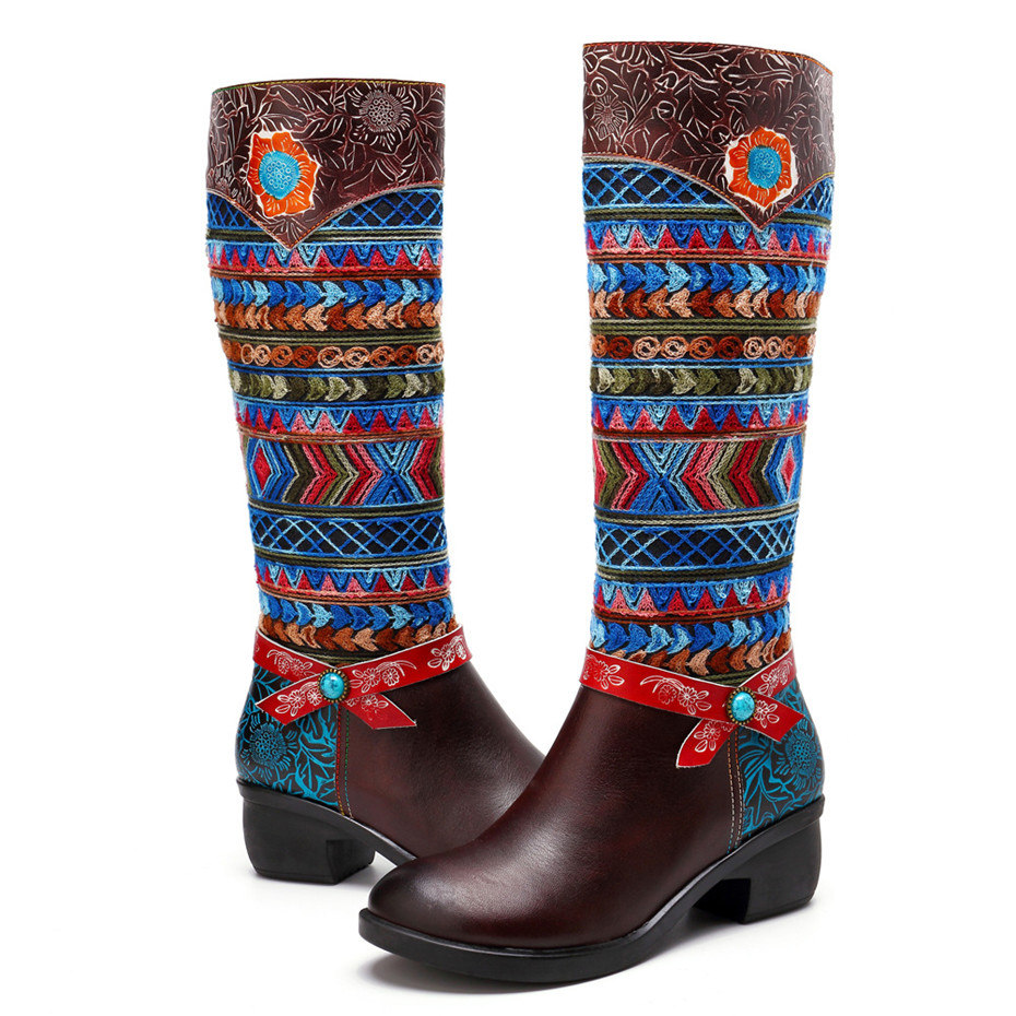 Women Cow Leather Boot Shoes 2019 Spring Autumn Ladies Mid-Calf 4cm Heels Shoes Fashion Bohemia Genuine Leather Boots Large Size (5)