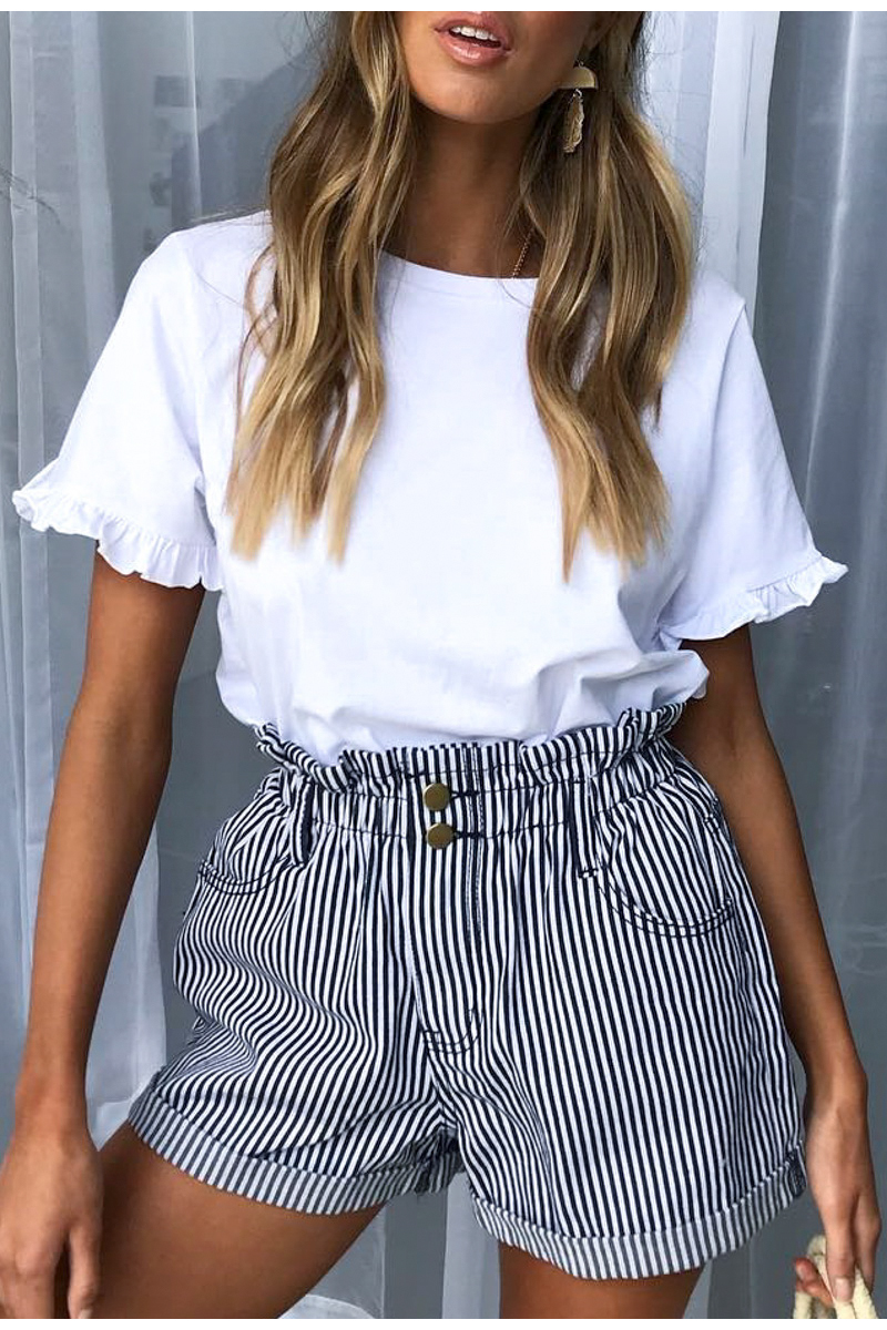 Striped High Waist Buttons Loose Fold Bottom Shorts