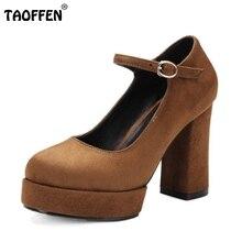 Zapatos de las mujeres Correa de Tobillo Fashion Square Super Alta Talón de Las Señoras partido Atractivo de La Vendimia Zapatos de Punta Redonda Nueva Marca Calzado Tamaño 32-42
