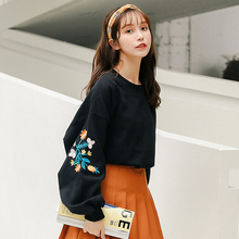 2019 Autumn Womens Sweatershirts Korean Fashion Casual Flowers Heavy Embroidery Loose Oversize Lantern Sleeves Tops Pullovers