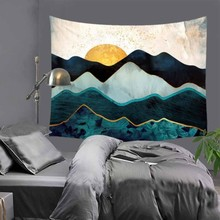 Abstract sunset Mountains print Indian tapestry hippie mandala wall hanging Bohemian bedspread dorm decor tapestry 51x60 LZC35 hanging mountains boat lake wall tapestry