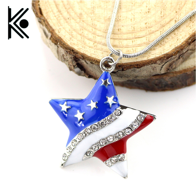 20 pc USA American Flag Enamel Blue and Red Crystal Rhinestone pentagram Patriotic  4th of 3c3551eb7a22