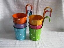 Cubo para jardín colgante de 10 Uds./lote, caja de hojalata de hierro, maceta de balcón, maceta de metal, diseño de puntos, color