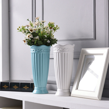 Classic Roman column blue white Ceramic Vase Crafts Decor Flower Creative Gift Household Decoration for home wedding