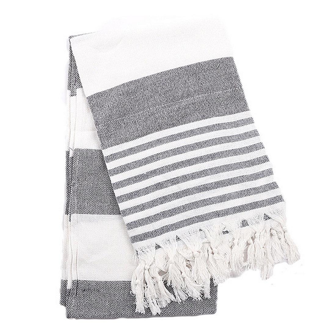 Adult Cotton Yarn Striped Thin Towel Shawl Sunscreen Towel