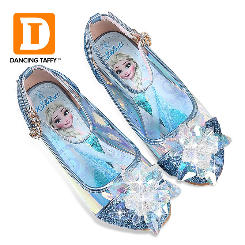 Diamond Shining Sequined Girls Sandals Fashion Anna Elsa Princess Dancing Party Children Shoes Rhinestone Leather Kids Shoes