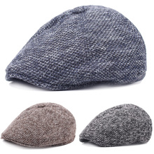 Мужской вязаный толстый теплый берет высокого качества, шляпа таксиста газетчика для гольфа, Повседневная Кепка HATCS0269
