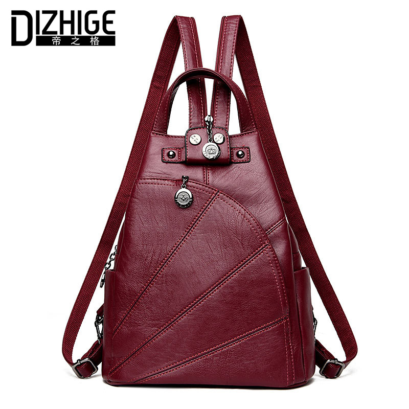 DIZHIGE Brand Women Backpack Leather School Bags For Teenagers Girl Travel Bag Designer High Quality Famous Backpacks Women New brand women bow backpacks pu leather backpack travel casual bags high quality girls school bag for teenagers